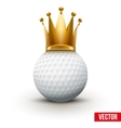 Golf ball with royal crown of queen vector image vector image