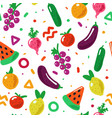 hand drawn fruit and vegetables seamless pattern vector image