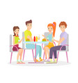 happy friends are sitting vector image vector image