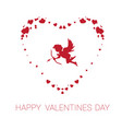 happy valentine day greeting card cute cupid in vector image vector image