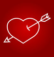 heart pierced with arrow line icon valentines day vector image