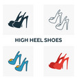 high heel shoes icon set four elements in vector image