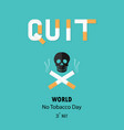 human skull and cigarettequit tobacco logo vector image vector image