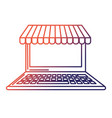 line technology laptop to business information vector image vector image