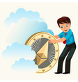 man holding ether golden coin flat poster vector image vector image