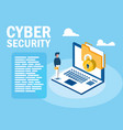 mini man with laptop and cyber security vector image