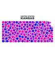 mosaic kansas state map of spheric dots vector image vector image