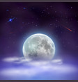 night sky with full moon hidden behind clouds vector image