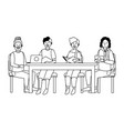 people around a table black and white vector image