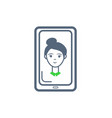 phone cell female icon on monitor screen vector image vector image