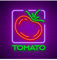 ripe red tomato neon sign vector image vector image