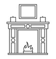 room fire place icon outline style vector image