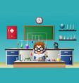 scientist boy in laboratory research with chemical vector image vector image