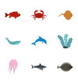 sea nature icons set flat style vector image vector image