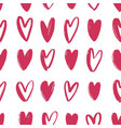 seamless pattern with pink hand drawn hearts vector image