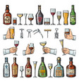 set alcoholic symbols different drinking vector image
