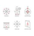 set christmas icons outline christmas vector image