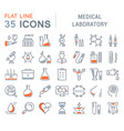 set flat line icons medical laboratory vector image vector image