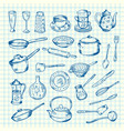 set of kitchen utensils on cell sheet vector image