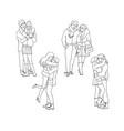 sketch lovers hugging kissing at winter set vector image