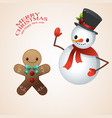 snow man in santa claus cap and gingerbread man vector image vector image