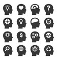 thinking head icons set on white background vector image vector image