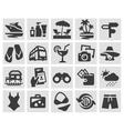 vacation set black icons signs and symbols vector image