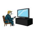 donald trump watching television cartoon vector image