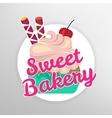 Cupcake dessert label vector image