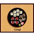 Unagi Sushi Design Flat Food Japanese vector image