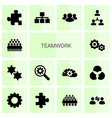 14 teamwork icons vector image vector image
