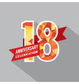 18th Years Anniversary Celebration Design vector image