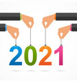 2021 year keep their hands on threads vector image