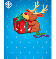 A christmas card with a gift and a deer vector image vector image