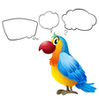 A colorful parrot thinking vector image vector image