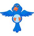 Blue bird cartoon flying