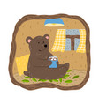 brown bear sitting in his burrow drinking cacao vector image vector image