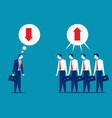 business people disagreeing with upward vector image vector image