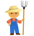 Cartoon Farmer Character with pitchfork vector image vector image