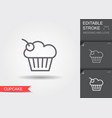 cherry cupcake line icon with shadow and editable vector image