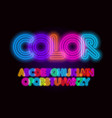 colored neon font colorful outlines letter set vector image vector image