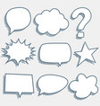 comic chat bubbles and expressions in sketch style vector image