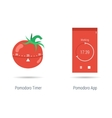 Concept of pomodoro timer and app vector image vector image