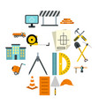 Construction icons set flat style