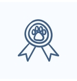 Dog award sketch icon vector image vector image