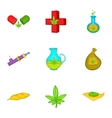 Drug icons set cartoon style vector image vector image