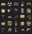 earthwork icons set simple style vector image vector image