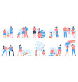 easter characters people carrying baskets eggs vector image vector image