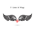 f-letter sign and angel wingsmonogram wing logo vector image