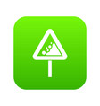 falling rocks warning traffic sign icon digital vector image